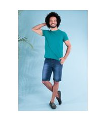 camiseta slim gola redonda com elastano verde fortune traymon tr0004