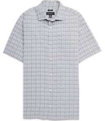 pronto uomo black & gray plaid camp shirt