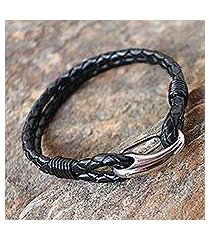 leather wristband bracelet, 'braided couple in black' (thailand)
