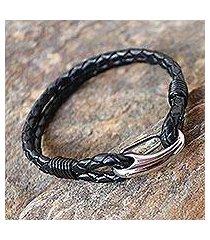 leather wristband bracelet, 'braided couple in black' (thailand)