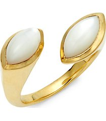 prisma 18k yellow gold & marquise mother-of-pearl bypass ring