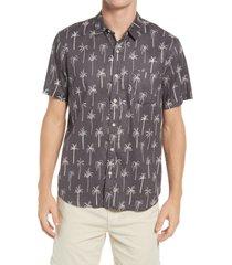 marine layer palm tree short sleeve button-up hemp blend shirt, size medium in black palm print at nordstrom