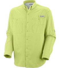 camisa hombre tamiami ii ml verde limón  columbia