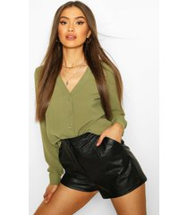 v neck blouse, khaki