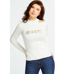 sweter ze strasowymi aplikacjami i logo