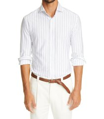 brunello cucinelli stripe slim fit long sleeve button-up cotton shirt, size medium in white/blue at nordstrom
