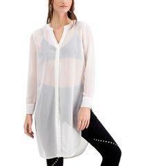 bar iii semi-sheer tunic blouse, created for macy's