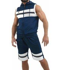 hombres ropa deportiva de entrenamiento moda sudadera jogging shorts sin mangas trajes con capucha