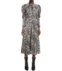 isabel marant vilma print twist puff sleeve dress, size 2 us in black 01bk at nordstrom