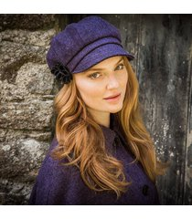 ladies irish wool newsboy cap purple