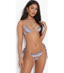 bikini broekje met opdruk, o-ring en zijstrikjes, sand