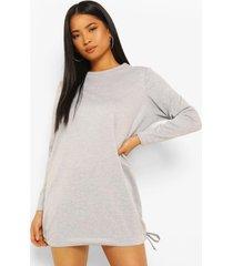 petite sweatshirt jurk met trektouwzoom, grey marl