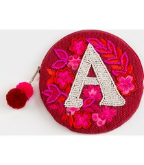 women's a round initial coin pouch in burgundy by francesca's - size: one size
