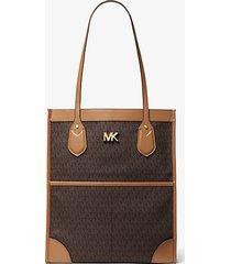 mk borsa tote bay grande con logo - marrone - michael kors