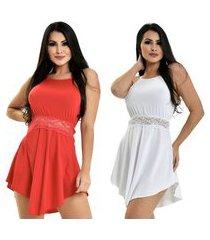 kit 2 camisola microfibra renda luxo sensual vestido vermelho branco