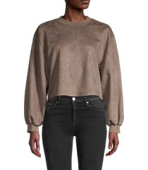oat new york women's balloon-sleeve cropped pullover - wood - size m