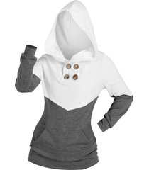 buttons colorblock kangaroo pocket hoodie