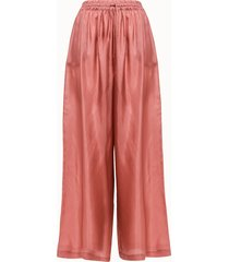 roberto collina pantalone flare in seta rosa