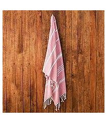 cotton beach towel, 'sweet relaxation in crimson' (guatemala)