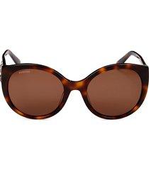 swarovski women's 57mm cat eye sunglasses - dark havana
