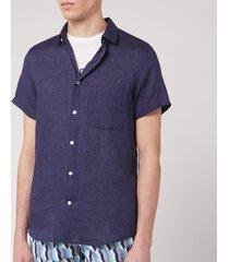 frescobol carioca men's linen block short sleeve shirt - midnight blue - xxl