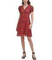 calvin klein floral-print empire-waist dress