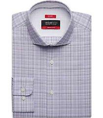 awearness kenneth cole awear-tech plum plaid slim fit dress shirt