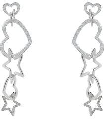 orecchini cuore e stella pendenti in acciaio rodiato diamantato per donna
