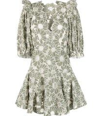 sandro paris floral open-knit mini dress - green