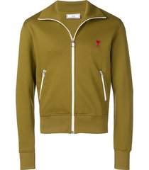 ami paris zipped sweatshirt with high collar and ami heart patch -