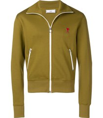 ami zipped sweatshirt with high collar and ami heart patch - green
