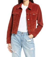 women's hidden jeans crop corduroy jacket, size small - orange