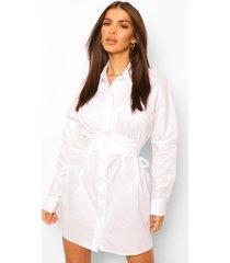 blouse jurk met volle mouwen en corset detail, wit