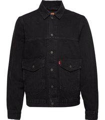 patch pocket trucker black box jeansjack denimjack zwart levi´s men