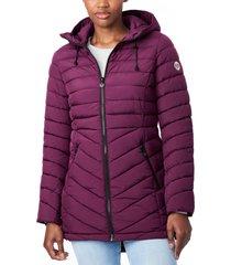 bernardo bernado packable ecoplume(tm) hooded walker coat, size medium in fig at nordstrom