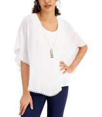 jm collection gauze necklace poncho, regular & petite sizes, created for macy's