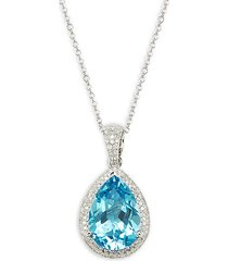 14 white gold, blue topaz & diamond pendant necklace