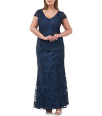 plus size women's js collections soutache embroidered v-neck trumpet gown