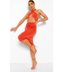 strakke midi jurk met v-halter neck detail, terracotta