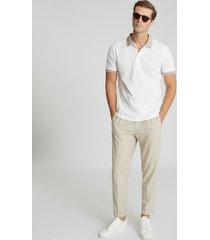 reiss filipo - contrast collar polo shirt in ecru, mens, size xxl