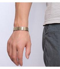 braccialetto a catena alla moda braccialetto magnetico a doppia fila accessori di gioielli in oro per gli uomini