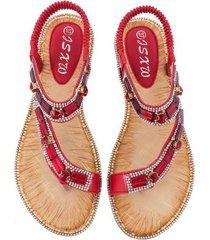 sandalias planas de rayas a cuadros para mujer-rojo