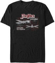 star wars men's mandalorian outland tie fighter grid t-shirt