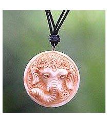 bone and leather pendant necklace, 'joyful ganesha' (indonesia)