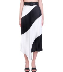 off-white spiral plisse skirt in white polyester