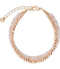 bracciale in ottone rosato con elementi conchiglia rosa e boule diamantate per donna