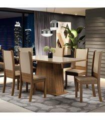 conjunto sala de jantar madesa emma mesa tampo de vidro com 6 cadeiras marrom - marrom - dafiti