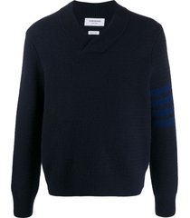 thom browne overwashed shawl collar pullover - blue