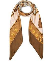 burberry reissued archive tassel print scarf - brown