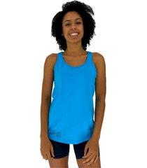 regata feminina alto conceito halter lateral azul piscina - azul - feminino - algodã£o - dafiti